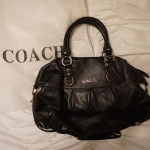 COACH Small Black Leather Tote